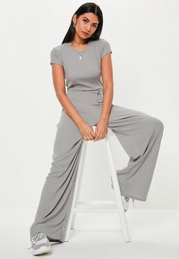 ... Grey Ribbed Shirt Sleeve Jumpsuit 532ebbe4a4f