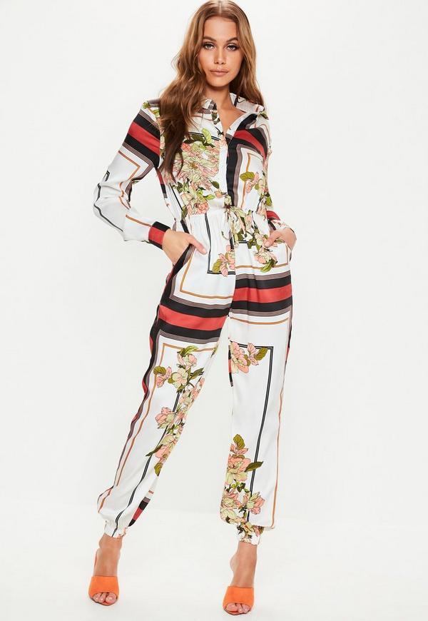 48cacdc9ce99 White Floral Print Stripe Utility Jumpsuit