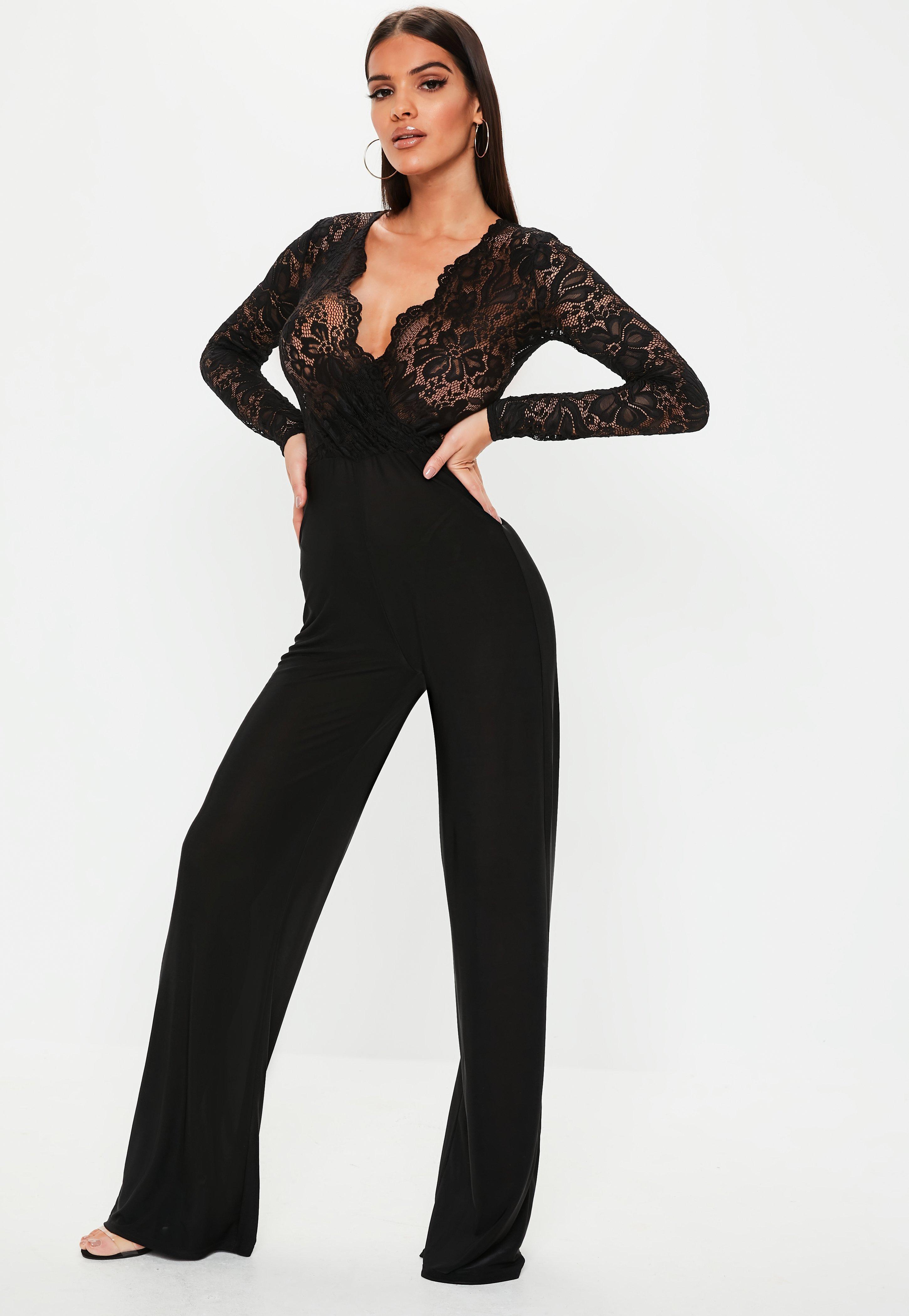 0fc08e09bd Black Lace Long Sleeve Wide Leg Jumpsuit | Missguided