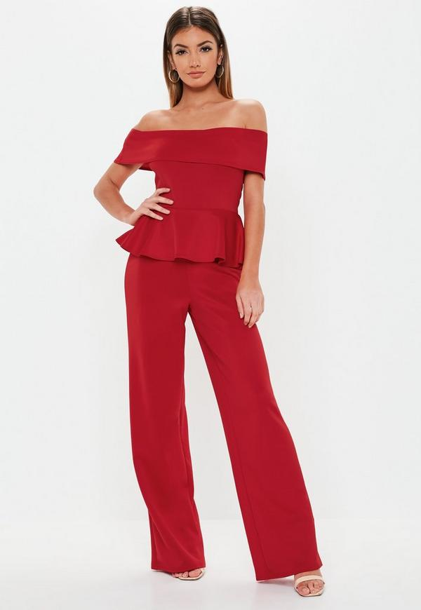 6696175a2bb9c ... Red Bardot Peplum Scuba Jumpsuit. Previous Next