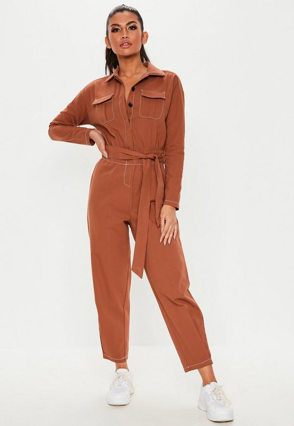c6379dc75704 Rust Long Sleeve Belted Utility Jumpsuit. Previous Next