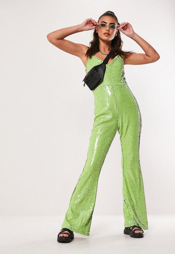 3b09450e4daa Lime Sequin Flared Leg Jumpsuit