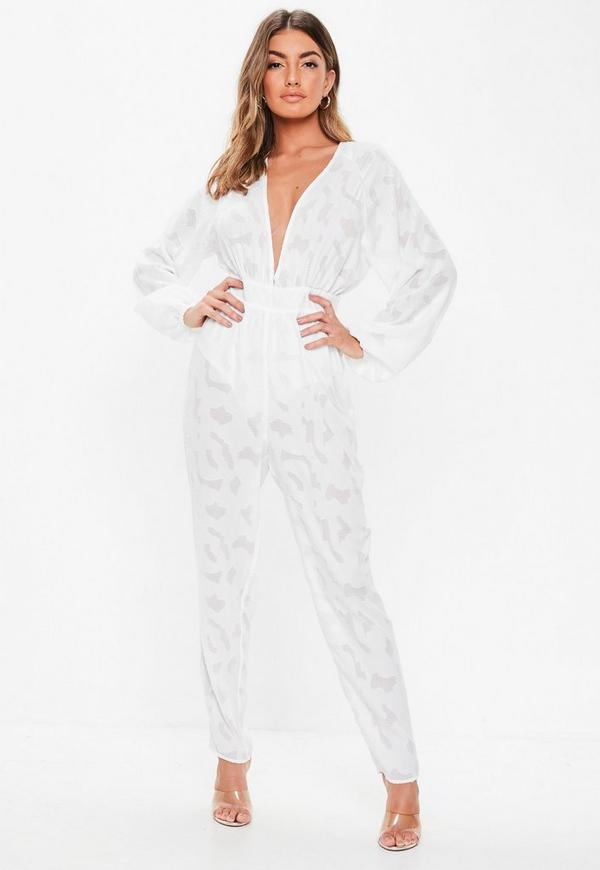 4148fb4d603 White Plunge Bell Sleeve Jumpsuit