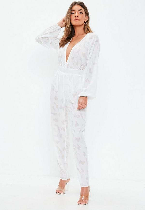 4df61a87766 White Plunge Bell Sleeve Jumpsuit. Previous Next
