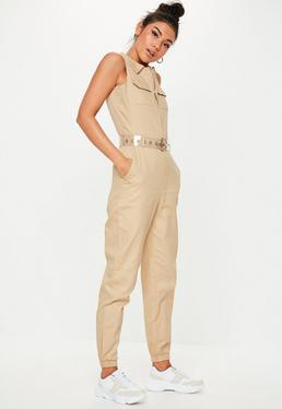 3878514250f Sand Sleeveless Utility Jumpsuit