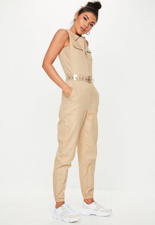 dd41ea047af ... Sand Sleeveless Utility Jumpsuit. Previous Next