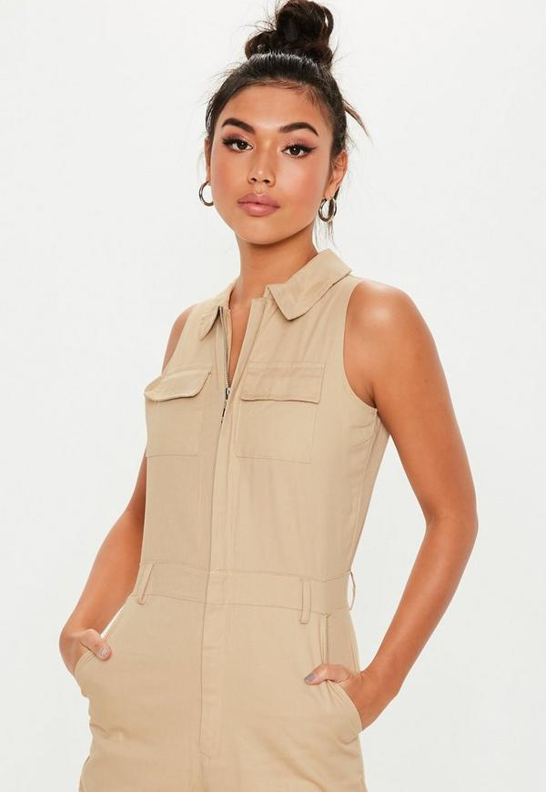 54e7d22f763 ... Sand Sleeveless Utility Jumpsuit. Previous Next