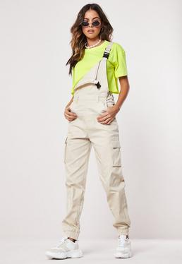 836332db3a350 Beige Cargo Buckle Dungaree Jumpsuit