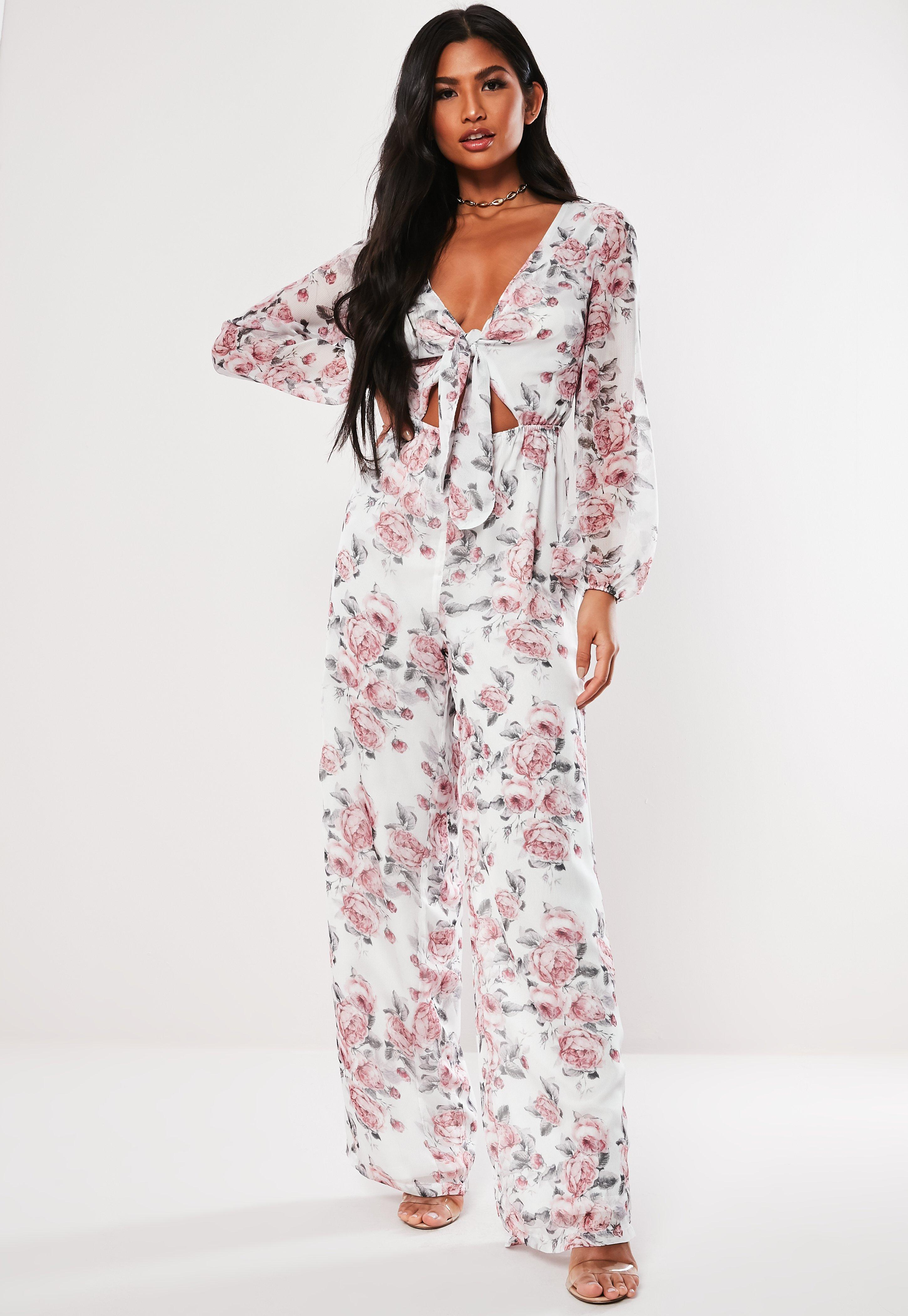 3a8186574de Pink Floral Print Cut Out Jumpsuit