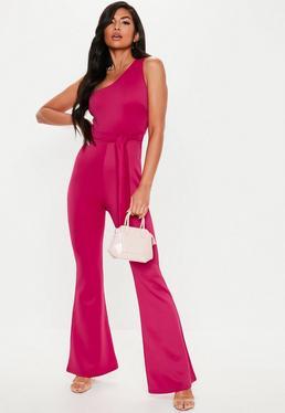 34861a5a767 Coral Bandeau Belted Flared Jumpsuit · Pink One Shoulder Belted Jumpsuit
