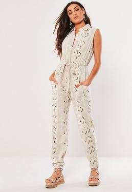ae516c77b729e Cream Broderie Sleeveless Button Front Jumpsuit