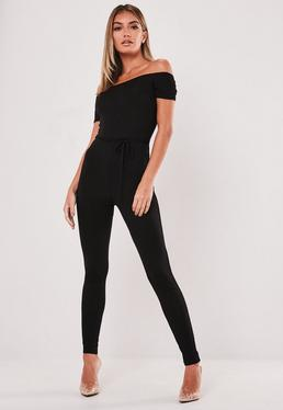 989882245c8 Black Zip Front Dungaree Jumpsuit · Black Bardot Unitard