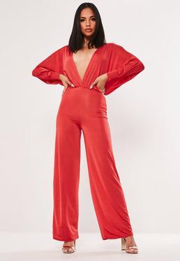 4c18575f1c5ca Plus Size Red Tie Front Wide Leg Jumpsuit · Red Slinky Plunge Jumpsuit