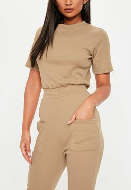 44b75a856ee Camel Jersey Ribbed Pocket Front Jumpsuit