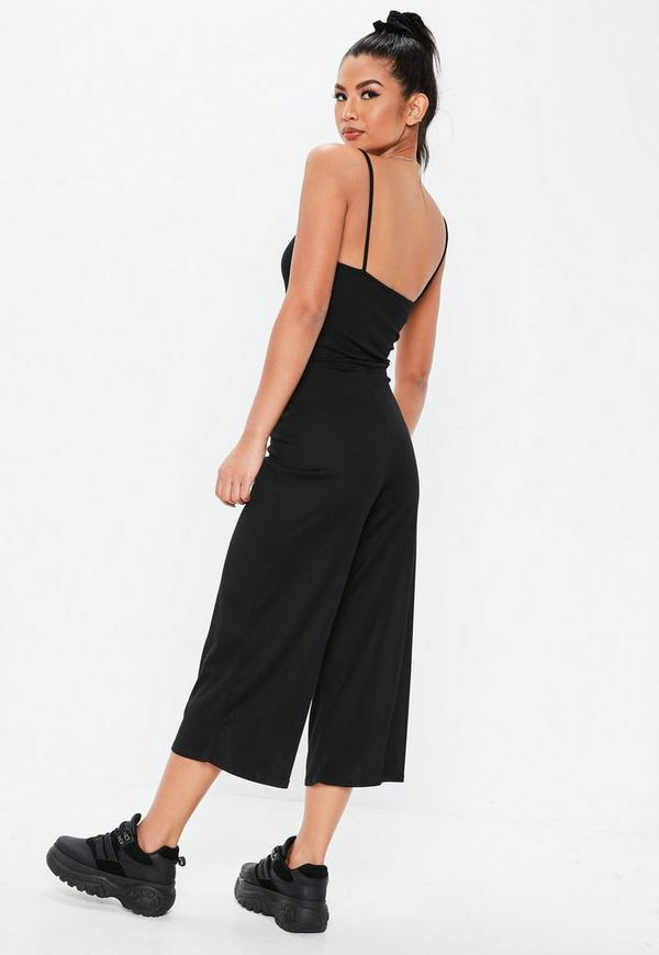6a849787ab9 Black Rib Tortoiseshell Belted Culotte Jumpsuit. Previous Next