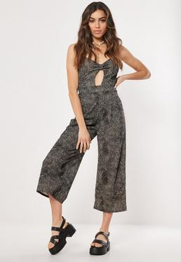 346ac7081d0 Brown Snake Print Cut Out Culotte Jumpsuit