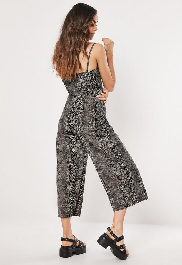 02886cf7ad46 Brown Snake Print Cut Out Culotte Jumpsuit. Previous Next