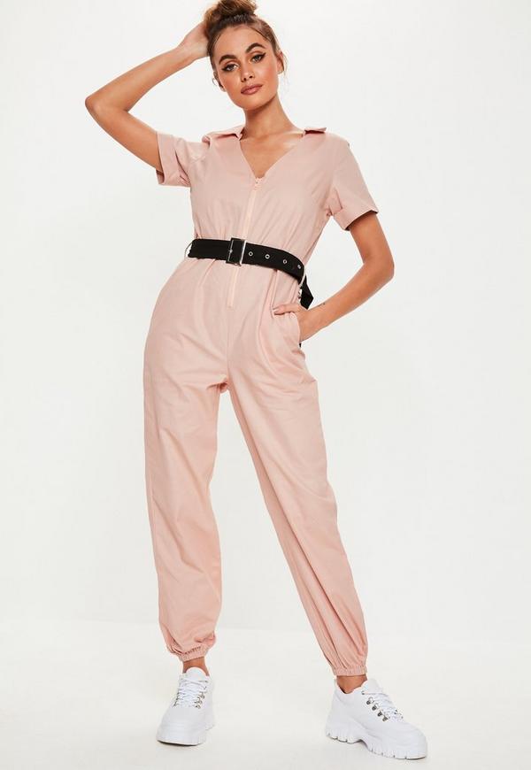 eddee5d17a1c pink short sleeve belted jumpsuit