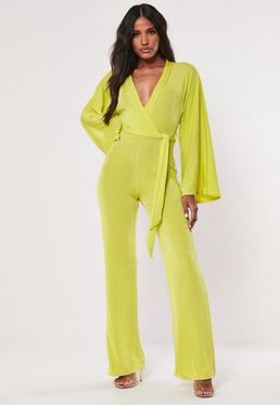 1b29d9dc296 Black One Shoulder Cut Out Flare Jumpsuit  Lime Slinky Batwing Wide Leg  Jumpsuit