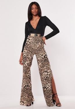 8485c61814 Black Bardot Unitard  Black Leopard Print Plisse Jumpsuit
