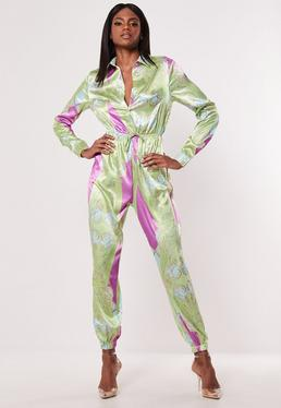 c5f44f594308 Camel Zip Collar Ribbed Jumpsuit · Green Paisley Print Satin Jumpsuit