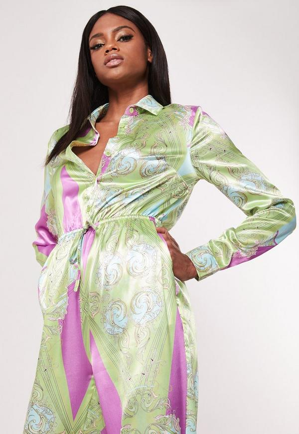 b169f81d2304 Green Paisley Print Satin Jumpsuit. Previous Next