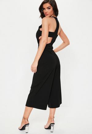 1fed64499ca5 £25.00. black high neck cut out culotte jumpsuit