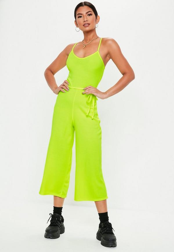 f6c9ca08da ... Neon Yellow Rib Cami Culotte Jumpsuit. Previous Next