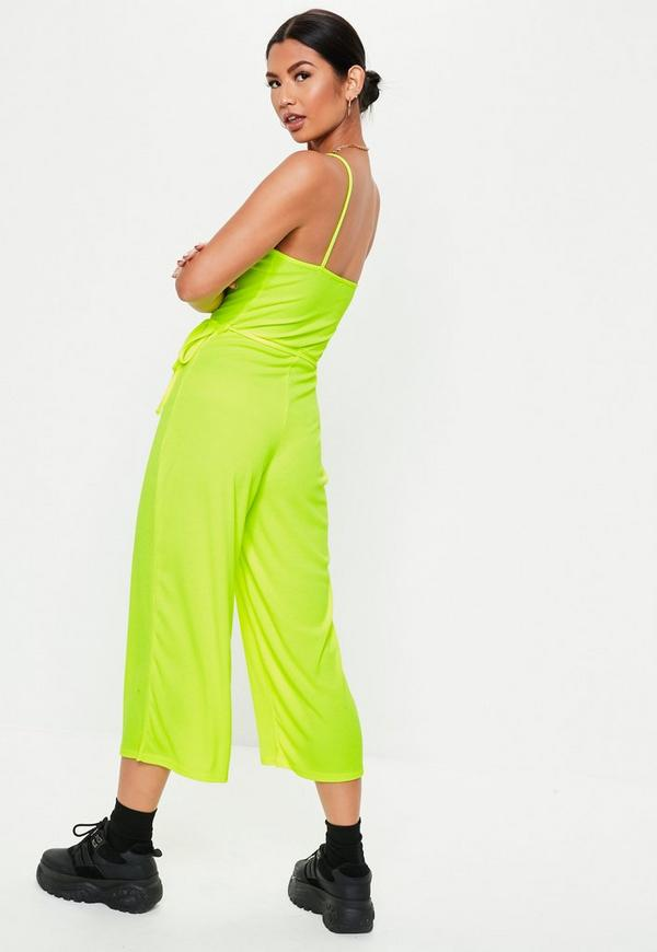 ba11ab458c Neon Yellow Rib Cami Culotte Jumpsuit by Missguided