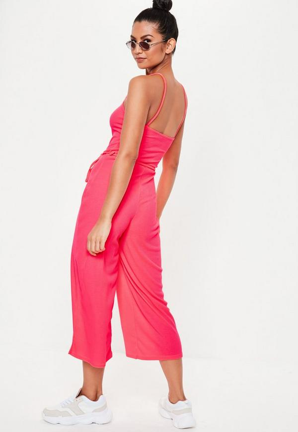 1c033e445bee ... Neon Pink Rib Cami Culotte Jumpsuit. Previous Next