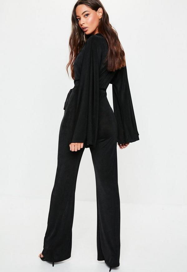 355c8ac0aa9 Black Slinky Batwing Wide Leg Jumpsuit. Previous Next
