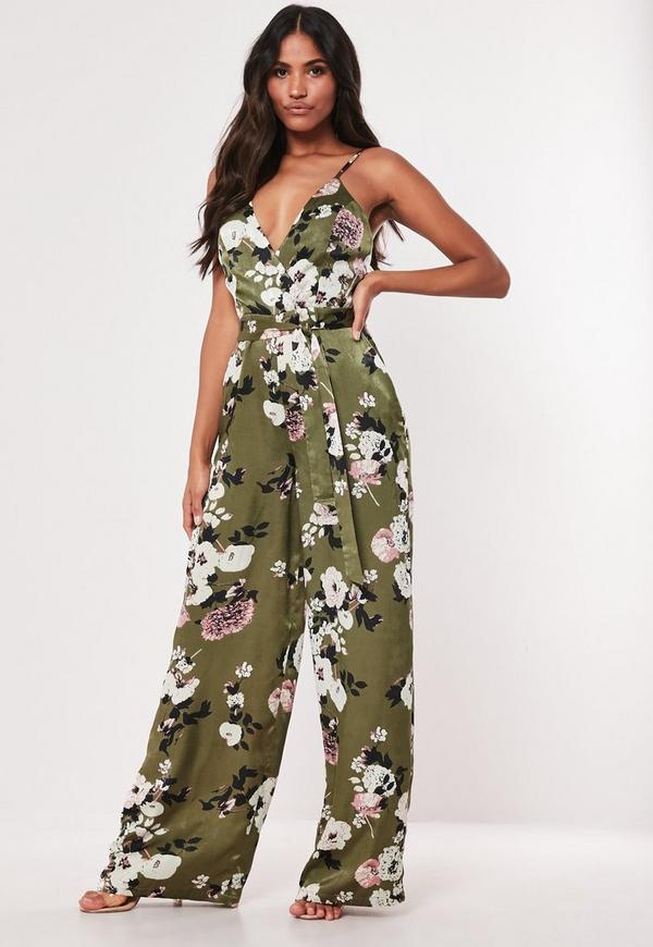 5b4377c0c0 Green Floral Print Satin Wide Leg Jumpsuit