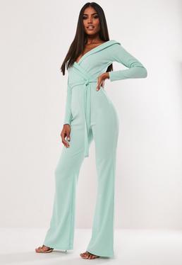 ... Mint Plunge Tie Front Wide Leg Jumpsuit 280f627df