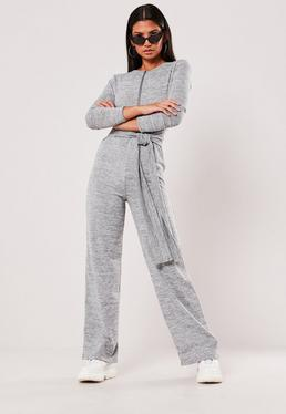 Grey Tie Waist Long Sleeve Jumpsuit e6d51b8091b