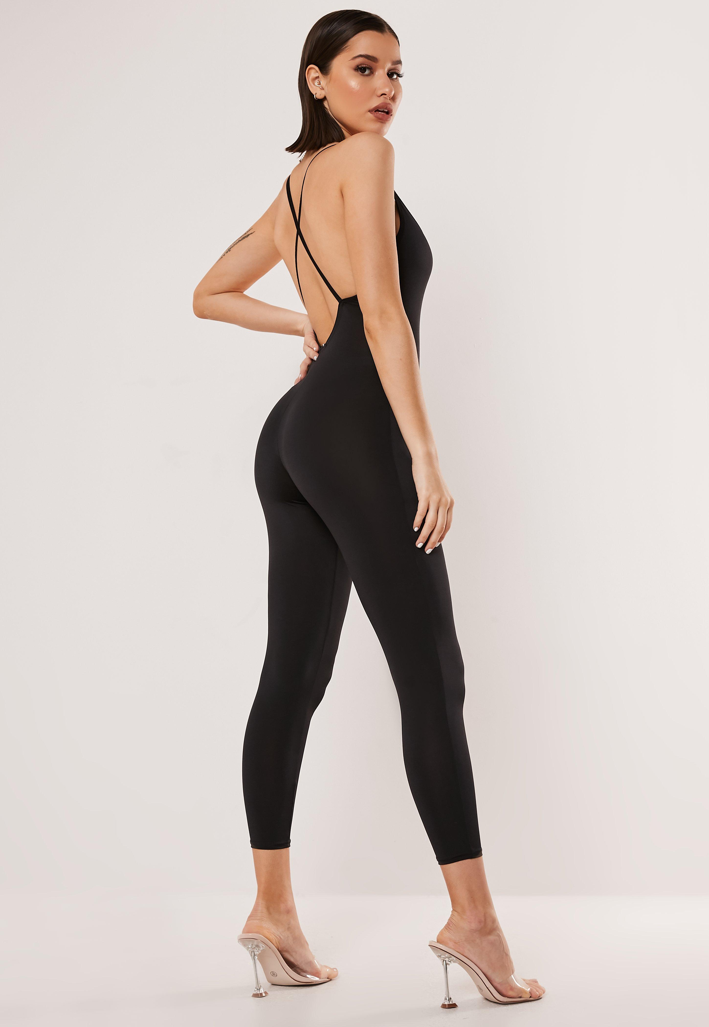 great look best place shades of Shoptagr   Black Slinky Strappy Back Unitard by Missguided