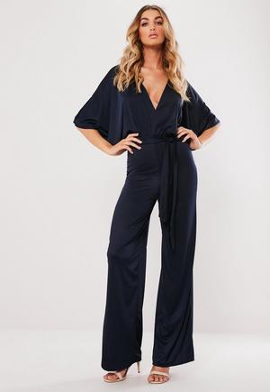 50b010cb858c £28.00. navy slinky kimono sleeve plunge jumpsuit