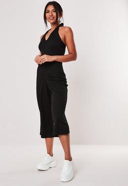 993c86131cd Black Wrap Front Skinny Leg Jumpsuit  Black Rib Halterneck Culotte Jumpsuit