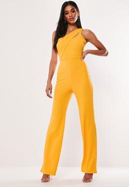Orange Sequin Bandeau Unitard  Orange Asymmetric Cut Out Jumpsuit 0e25843c6860