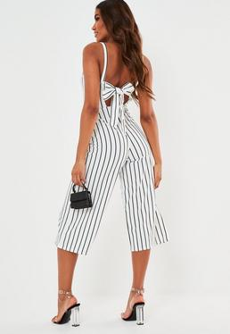 e41fa0e9d8f more colours + · White Pinstripe Tie Back Culotte Jumpsuit