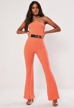 f9c4bf08dd86 ... Coral Bandeau Belted Flared Jumpsuit