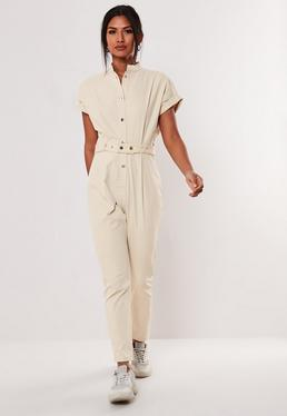 84e870bdecdd Camel Zip Collar Ribbed Jumpsuit · Cream Utility Pocket Belted Jumpsuit