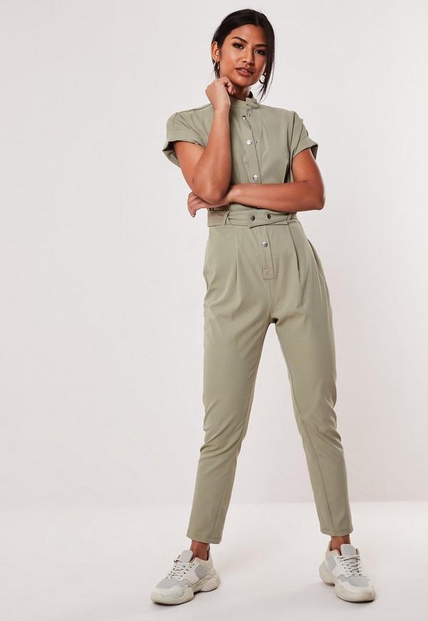 a48dec465523 ... Khaki Utility Pocket Belted Jumpsuit. Previous Next