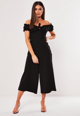 5929d95bb42 ... Black Milkmaid Bardot Culotte Jumpsuit