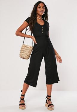 19df3285dd7 ... Black Ribbed V Front Culotte Jumpsuit