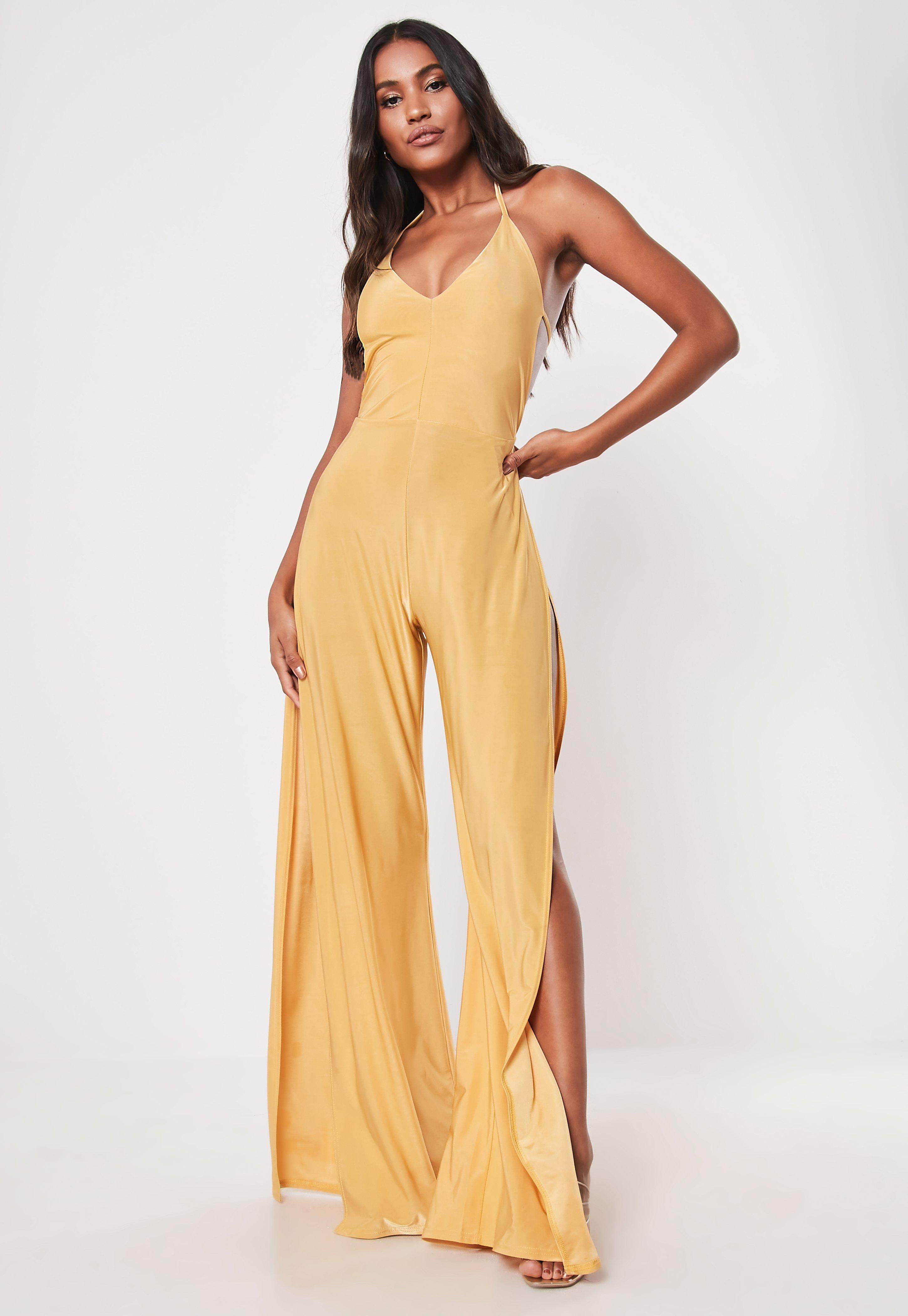 Gold Slinky Double Strap Halterneck Split Jumpsuit by Missguided