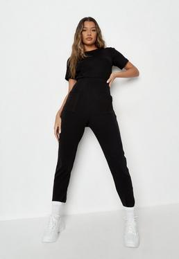 4117b9e306f Black Ribbed Pocket Jumpsuit