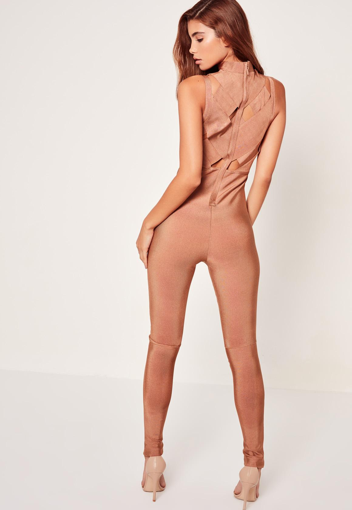 Bandage Cross Front Jumpsuit Nude
