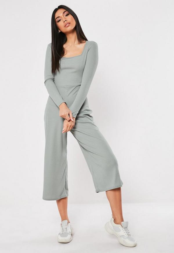 fbab987b213f9 ... Gray Square Neck Ribbed Culotte Jumpsuit. Previous Next