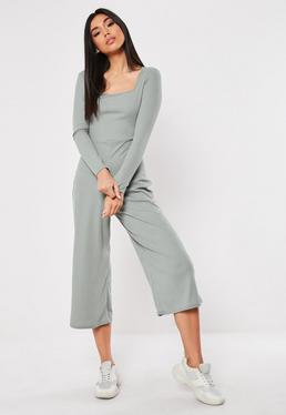 bab02fa28d ... Grey Square Neck Ribbed Culotte Jumpsuit
