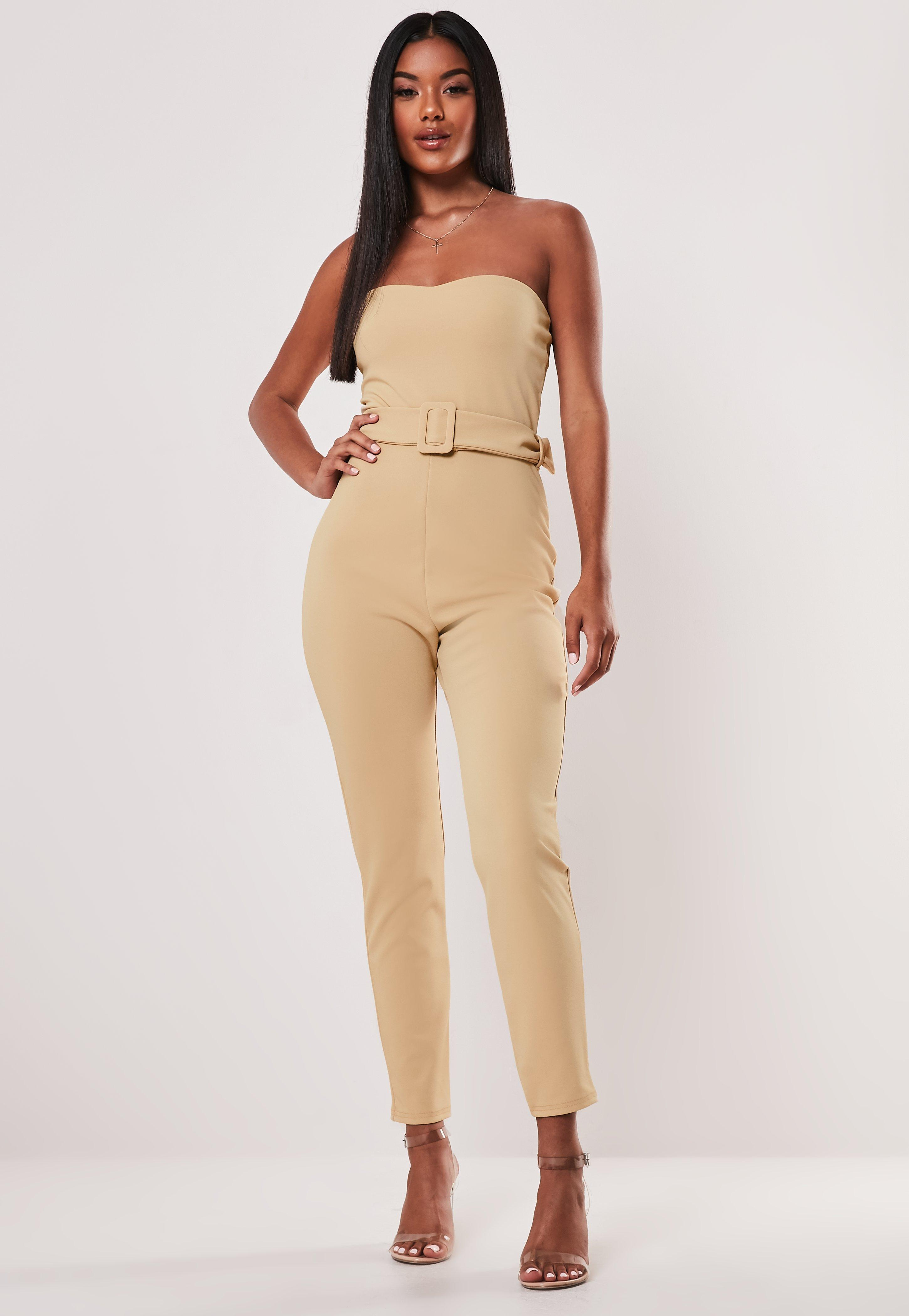 Stone Self Belted Bandeau Jumpsuit by Missguided